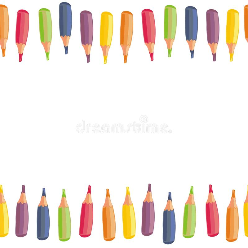 Free Colorful Crayons Top And Bottom Border Stock Photos - 31282133