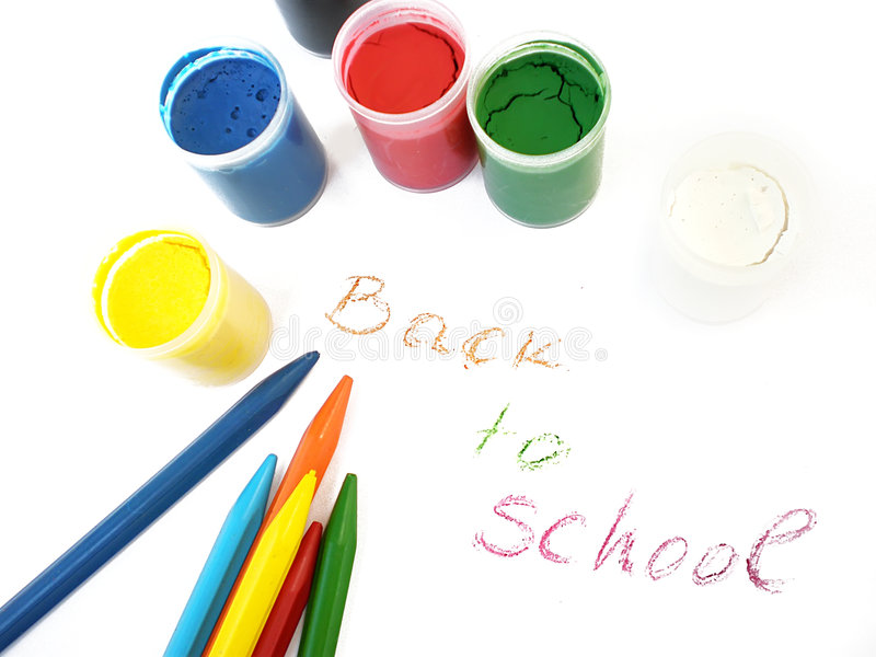 Colorful crayons and water-colors, back to school stock photo