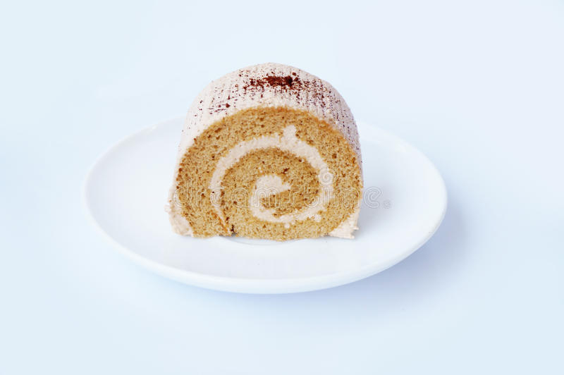 Colorful cream coffee cake roll royalty free stock images