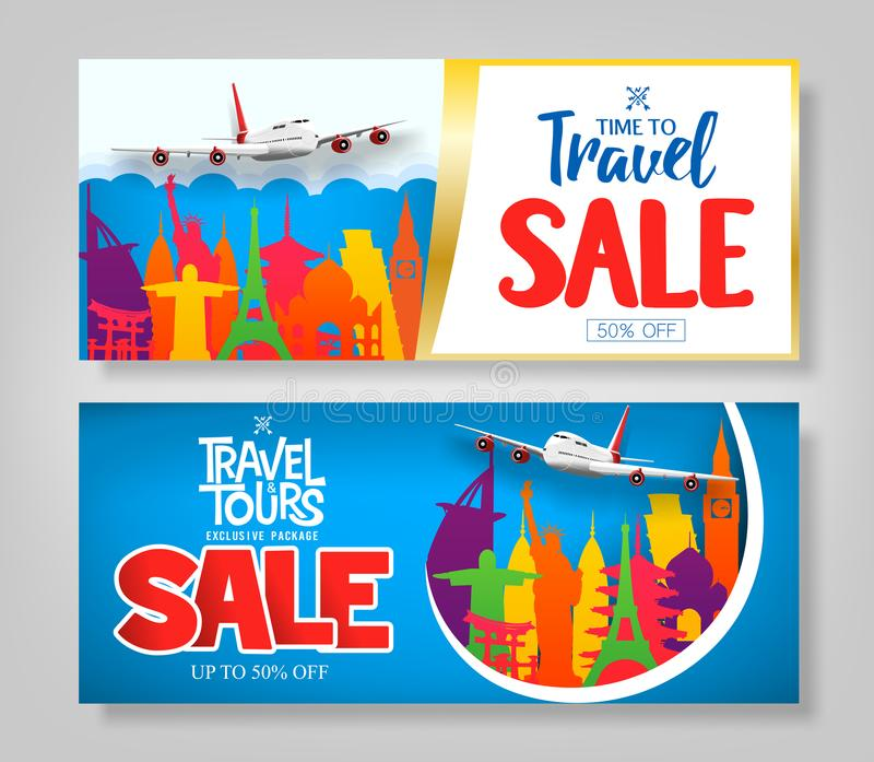 Colorful Creative Travel Sale Banner Set with Famous Landmark vector illustration