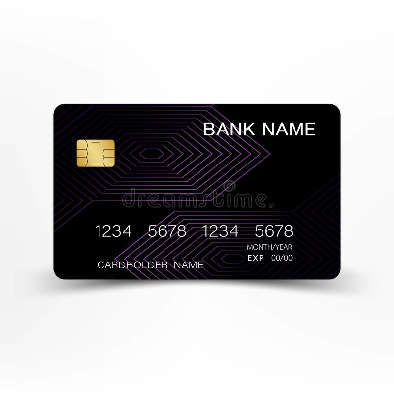Colorful credit card set design. Modern credit card template design. With inspiration from the line abstract. Purple and black color on gray background royalty free illustration