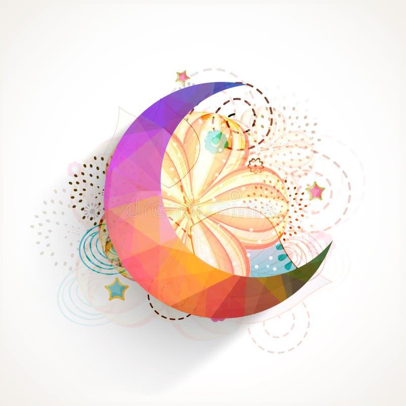 Colorful crescent moon for Islamic festival, Eid Mubarak celebration. Islamic famous festival, Eid Mubarak celebration with colorful crescent moon on floral stock illustration