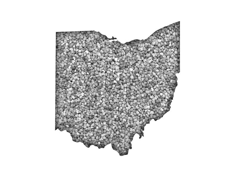 Map of Ohio on poppy seeds. Colorful and crisp image of map of Ohio on poppy seeds stock images