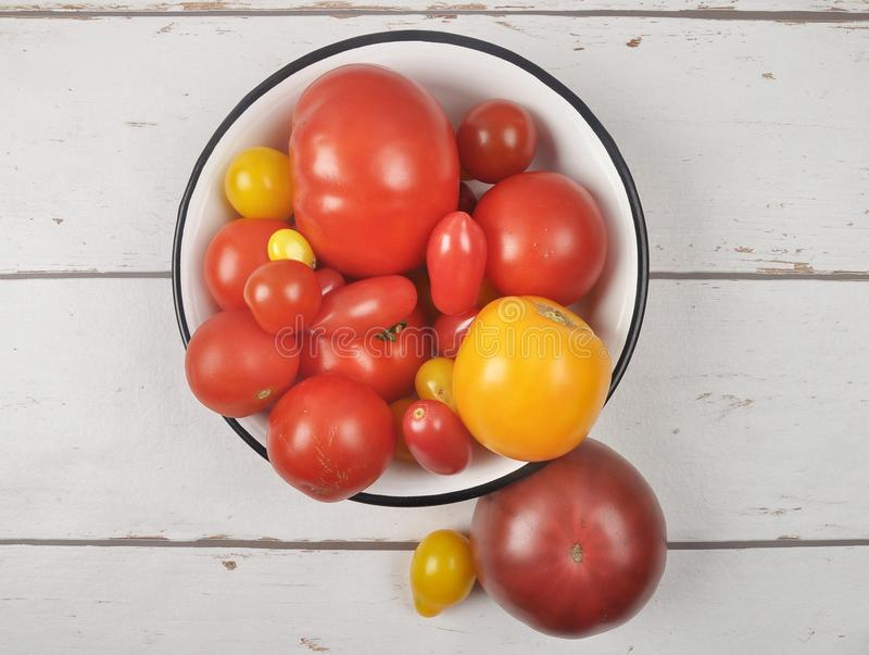Variety of tomato cultivars in enamel bowl on weathered wood royalty free stock photo