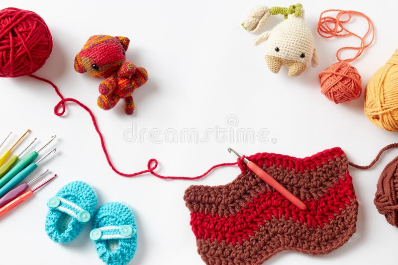 Colorful Crochet Project royalty free stock photo