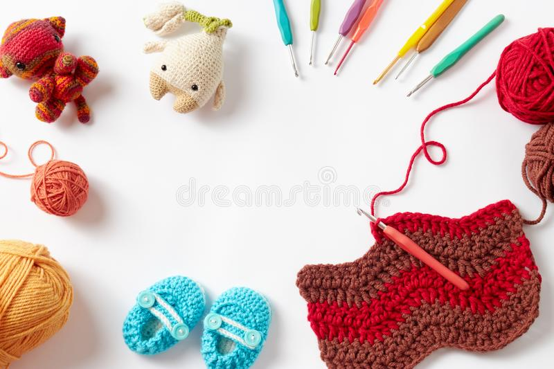 Colorful Crochet Project stock photos