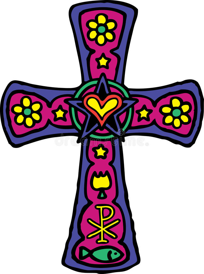 Colorful Cross stock photo