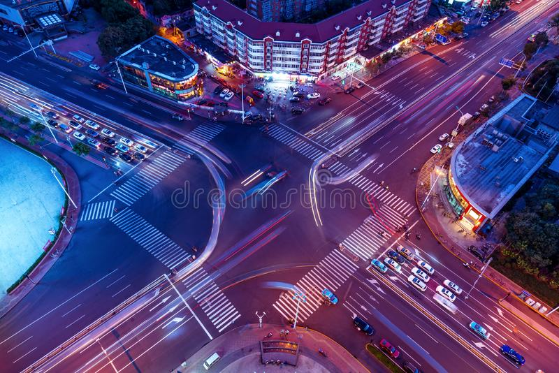 Colorful crossroads. At the intersection of the evening stock images