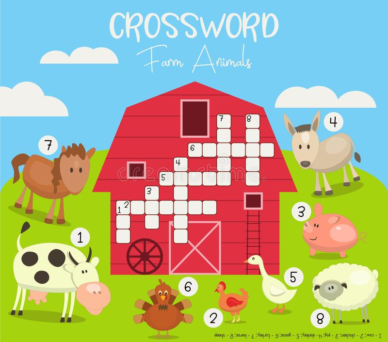 Colorful Crossword in English stock illustration