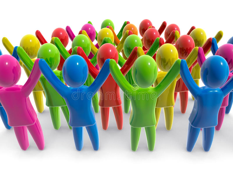 Colorful crowd. Crowd of people with raised hands vector illustration
