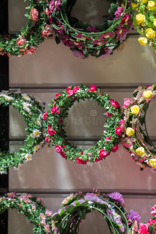 colorful crowns made of fake flowers royalty free stock photos