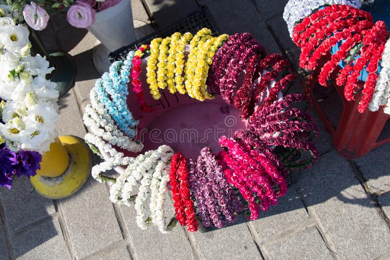 colorful crowns made of fake flowers royalty free stock photography
