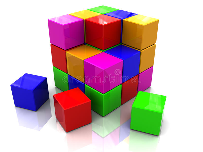 Colorful cube assembling stock illustration