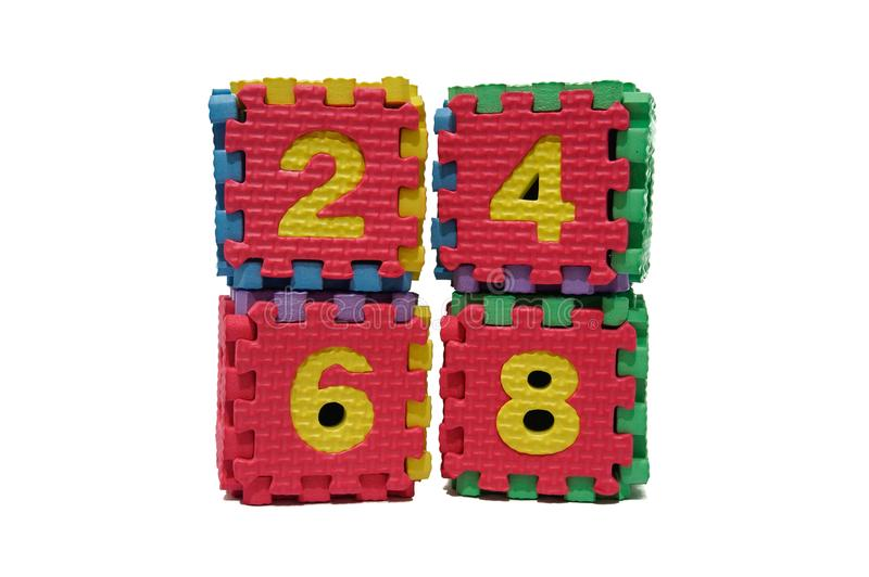 Colorful cube puzzle of even numbers royalty free stock photos