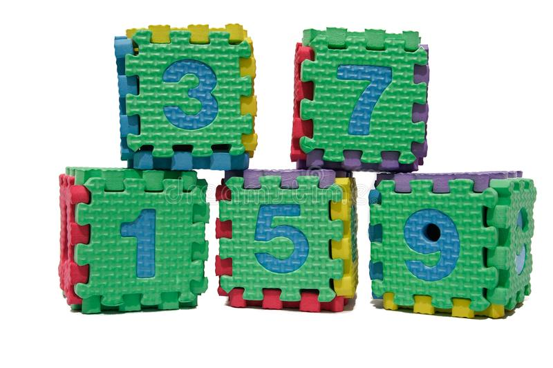 Colorful cube puzzle of odd numbers royalty free stock photos