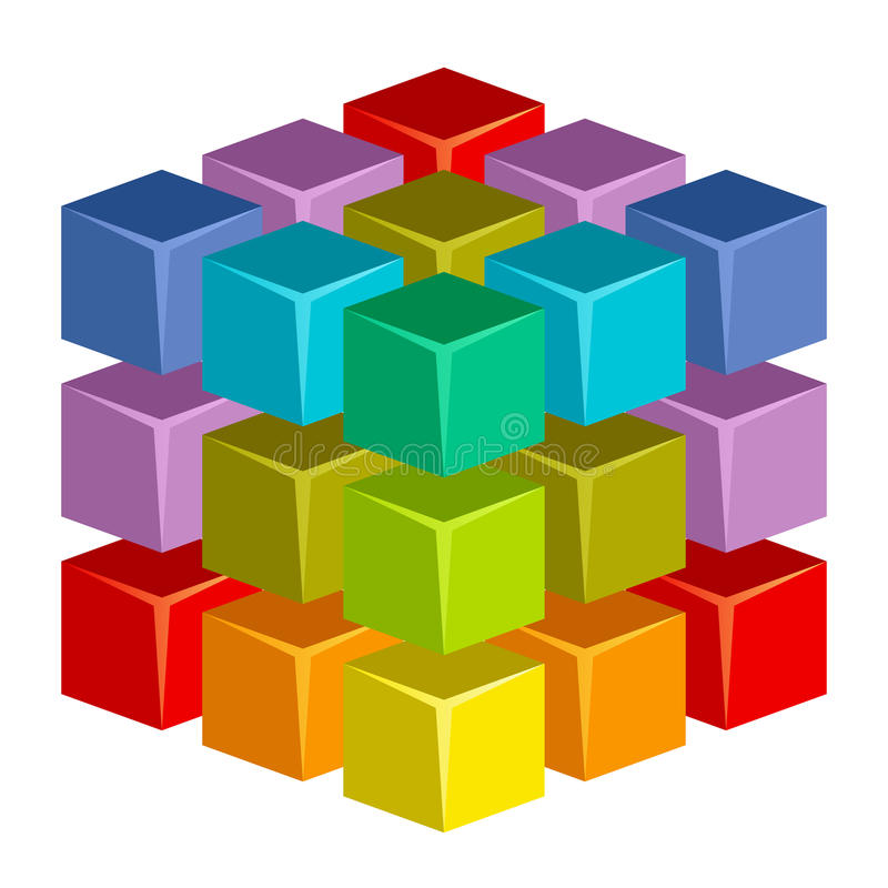 Colorful cube royalty free illustration