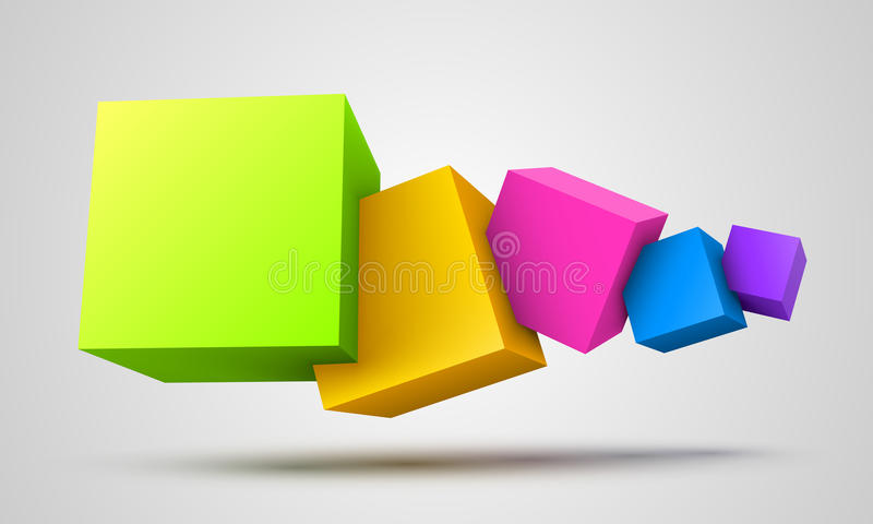 Colorful cubes 3D royalty free illustration