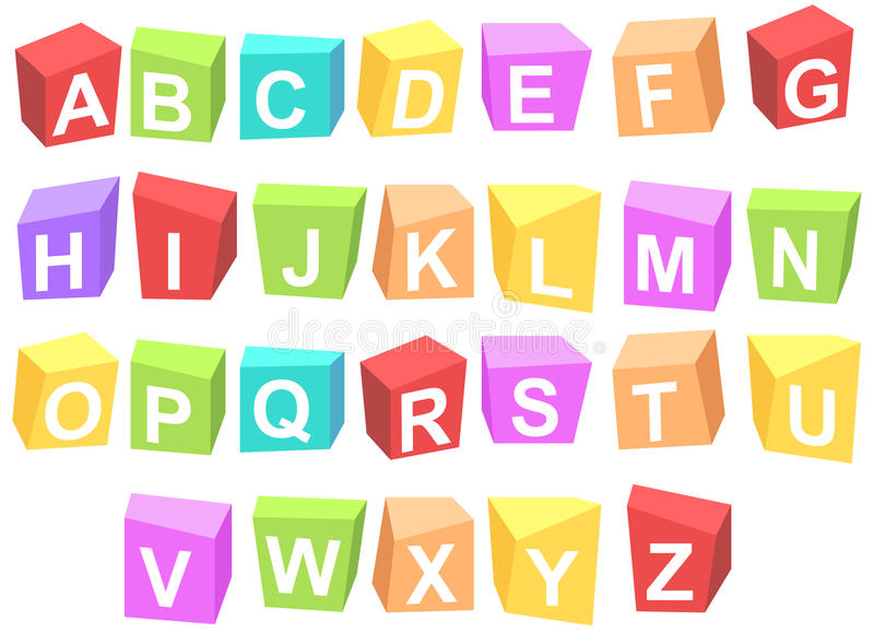 Colorful cubes alphabets. Vector colorful cubes with basic English alphabets isolated on white background stock illustration