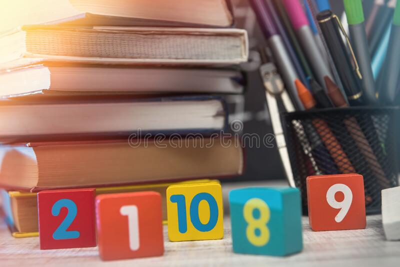 Colorful cubes with different digits close up. Education concept.  stock photography