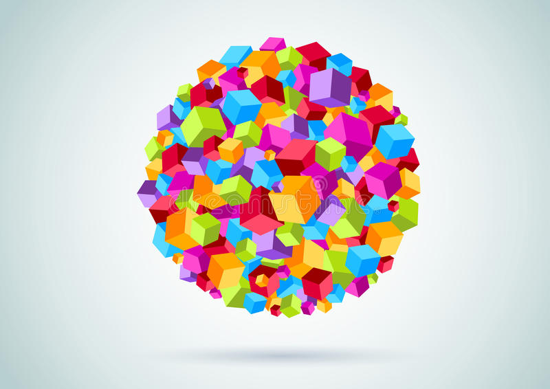 Colorful Cubes Form A Circle Royalty Free Stock Image
