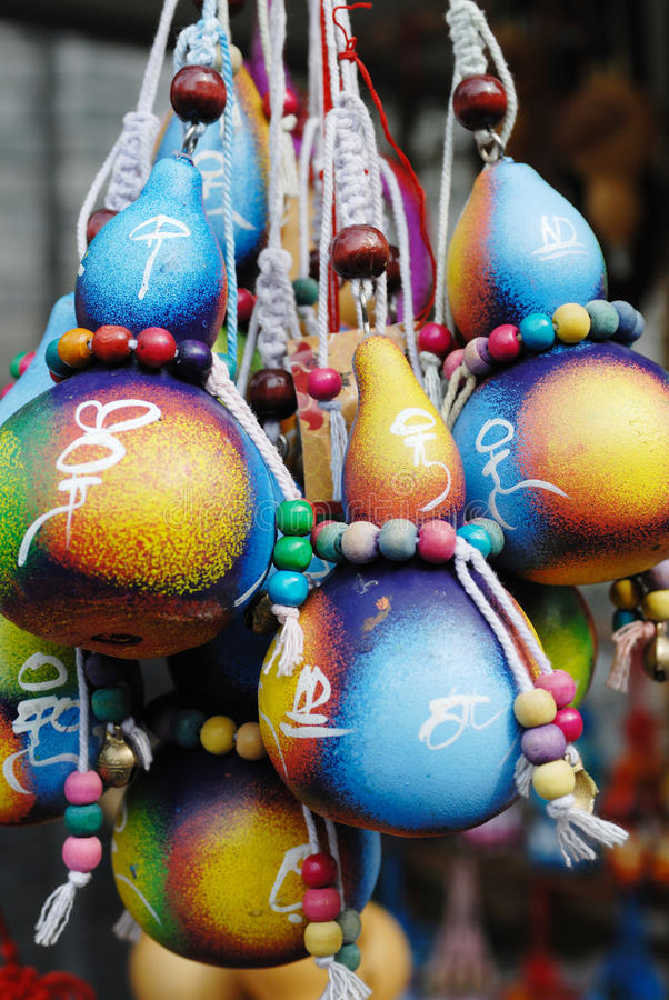 Colorful cucurbit handcraft. Chinese folk art: cucurbit picture stock images