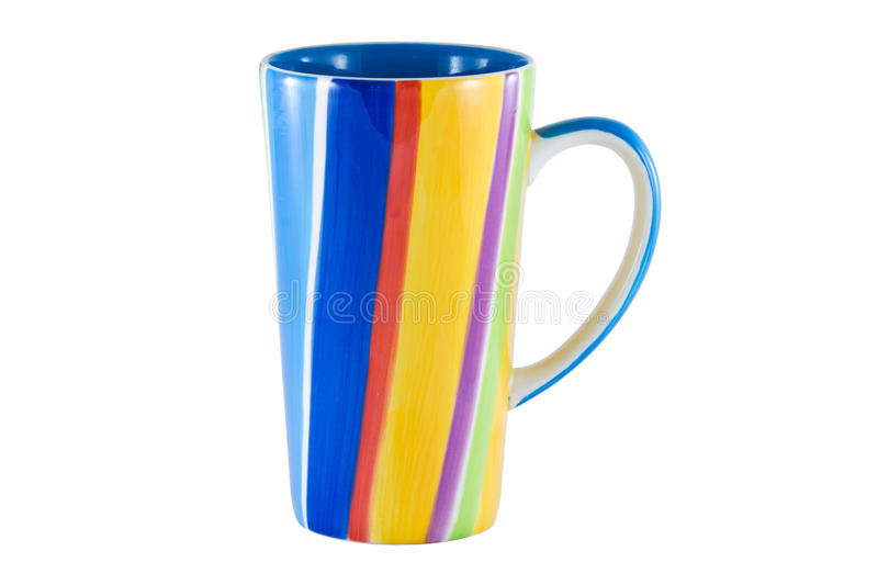Colorful cup isolated. On the white background royalty free stock image