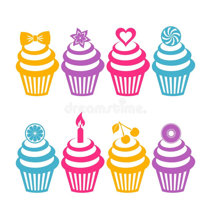 Colorful cupcake silhouettes royalty free illustration