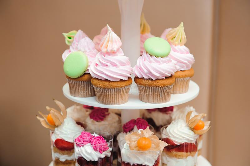 Colorful cupcakes, birthday sweet cakes with colored cream.  stock image