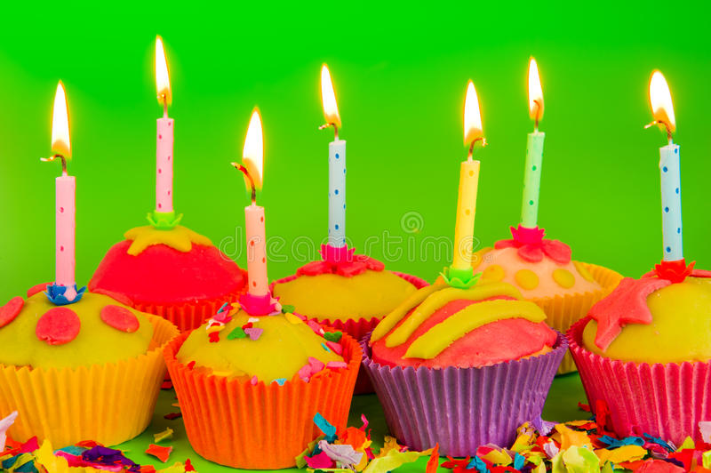Download Colorful Cupcakes With Candles Stock Image - Image: 20384265