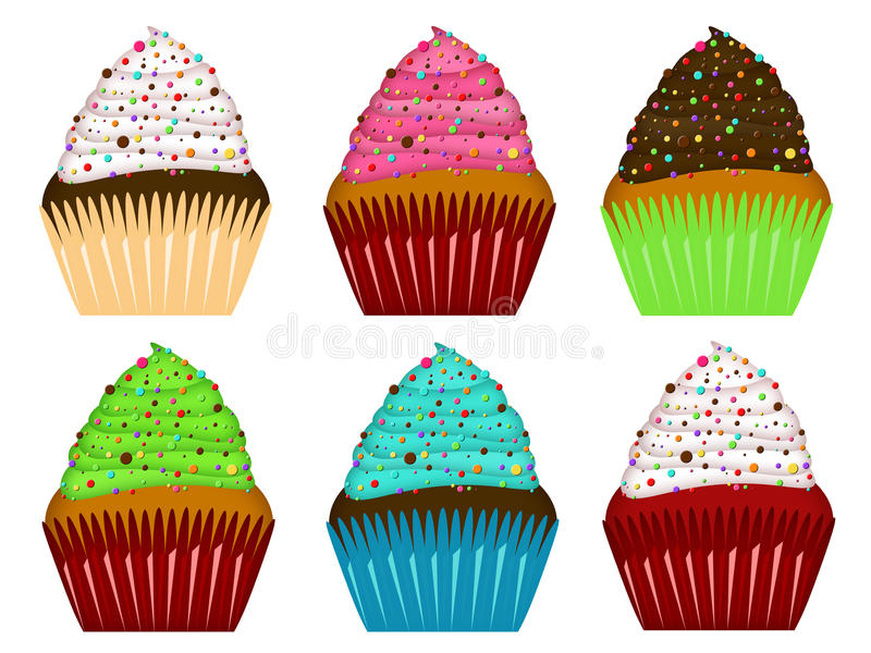 Download Colorful Cupcakes Frosting And Chocolate Chips Stock Image - Image: 17434685