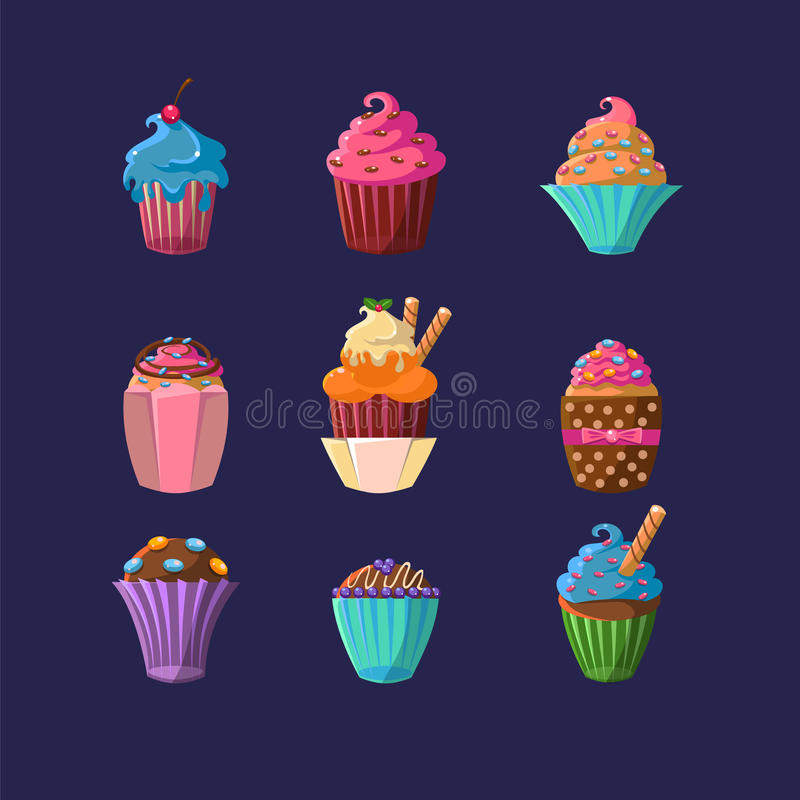 Colorful Cupcakes Set stock illustration