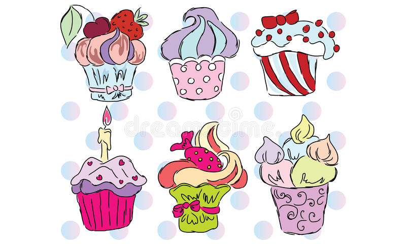 Colorful cupcakes royalty free illustration