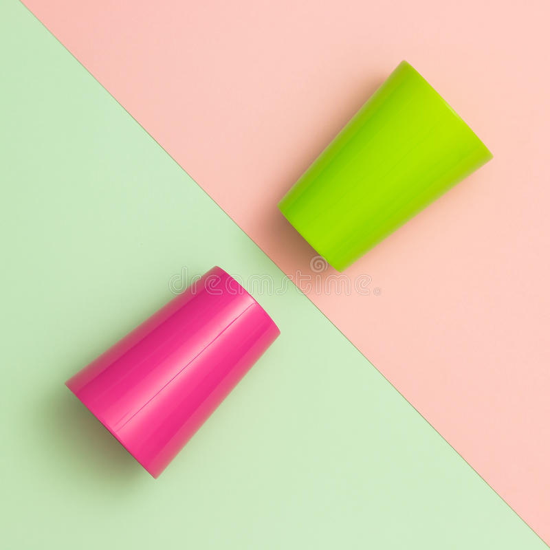 Colorful cups stock image