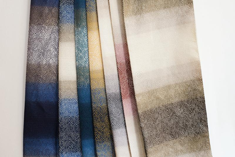 Colorful curtain fabric samples. Multiple color fabric texture samples selection fabrics for interior decoration. Curtains, tulle stock image