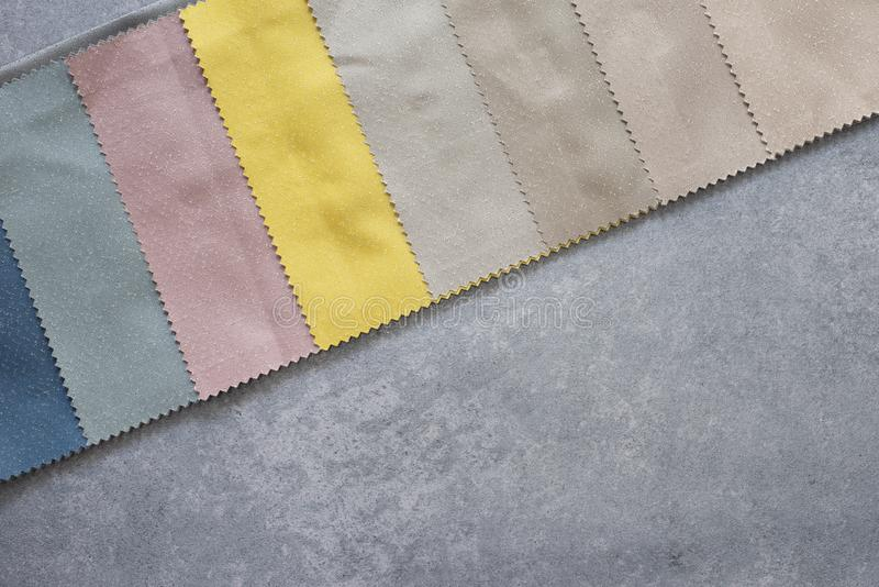 Colorful curtain fabric samples. Multiple color fabric texture samples selection fabrics for interior decoration. Curtains, tulle. And furniture upholstery stock images