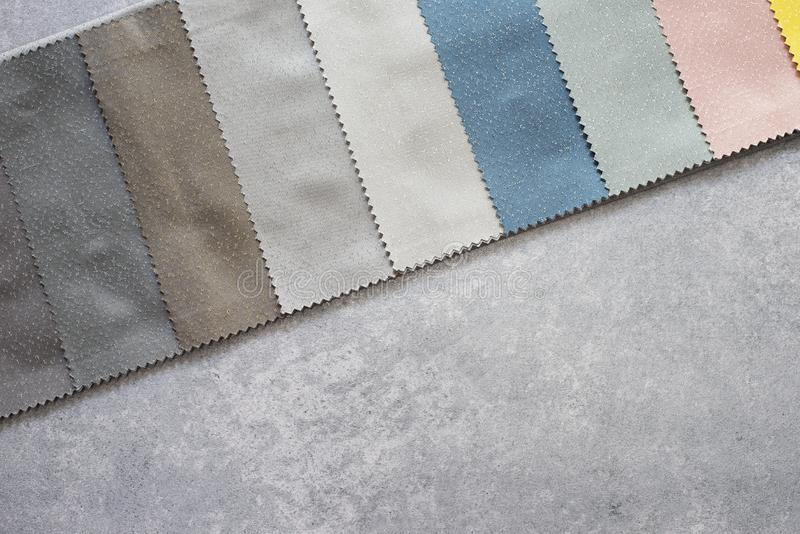 Colorful curtain fabric samples. Multiple color fabric texture samples selection fabrics for interior decoration. Curtains, tulle. And furniture upholstery stock photography