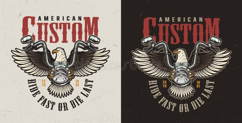 Colorful custom motorcycle print vector illustration