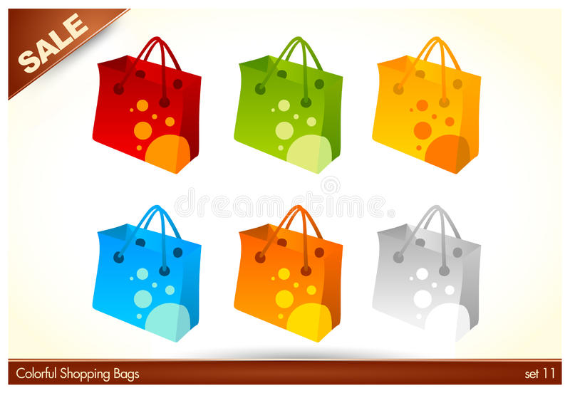 Colorful Custom Shopping Bags Stock Photography