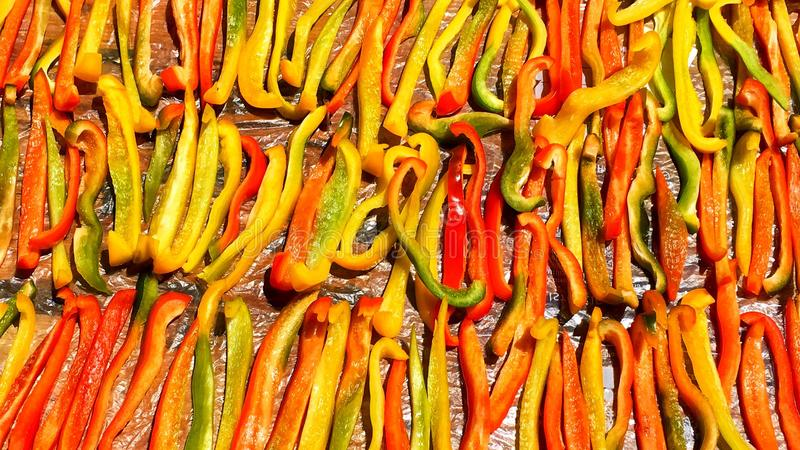 Colorful cut pepper. S dry in the sun in summer full frame stock image