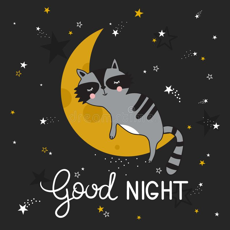 Colorful cute background with sleeping raccoon, moon, stars and english text. Good night royalty free illustration
