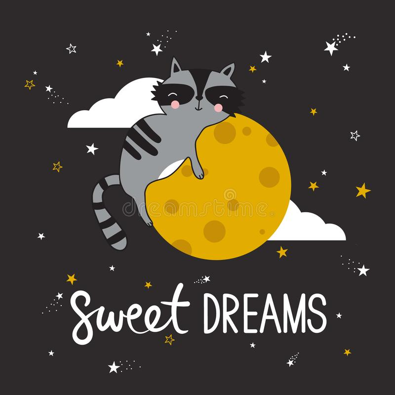 Colorful cute background with sleeping raccoon, moon, stars and english text. Sweet dreams vector illustration