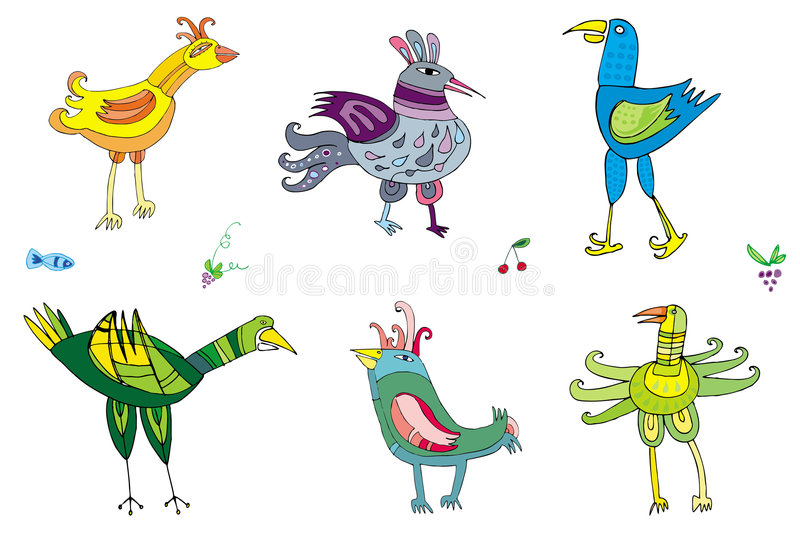 Colorful cute birds 2 royalty free illustration