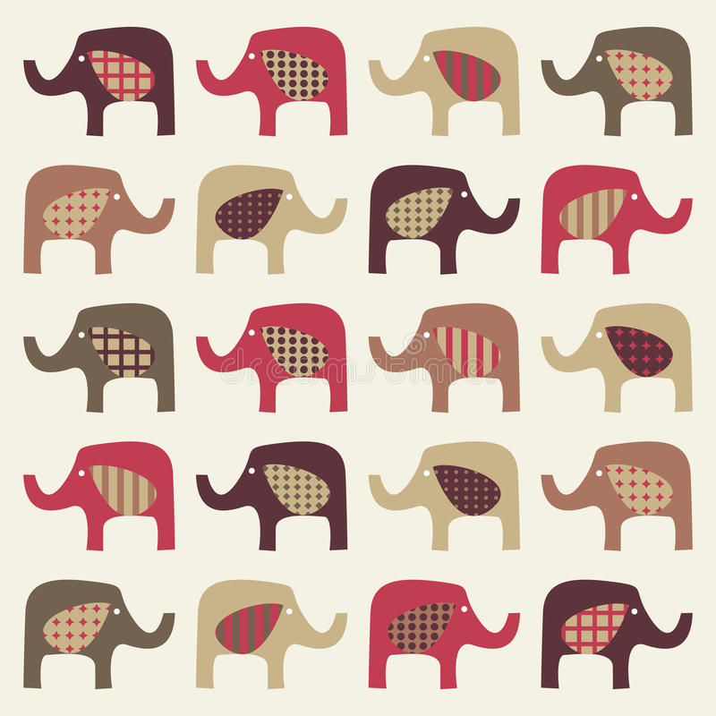 Colorful cute elephants background