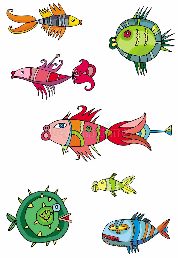 Colorful cute fishes stock illustration