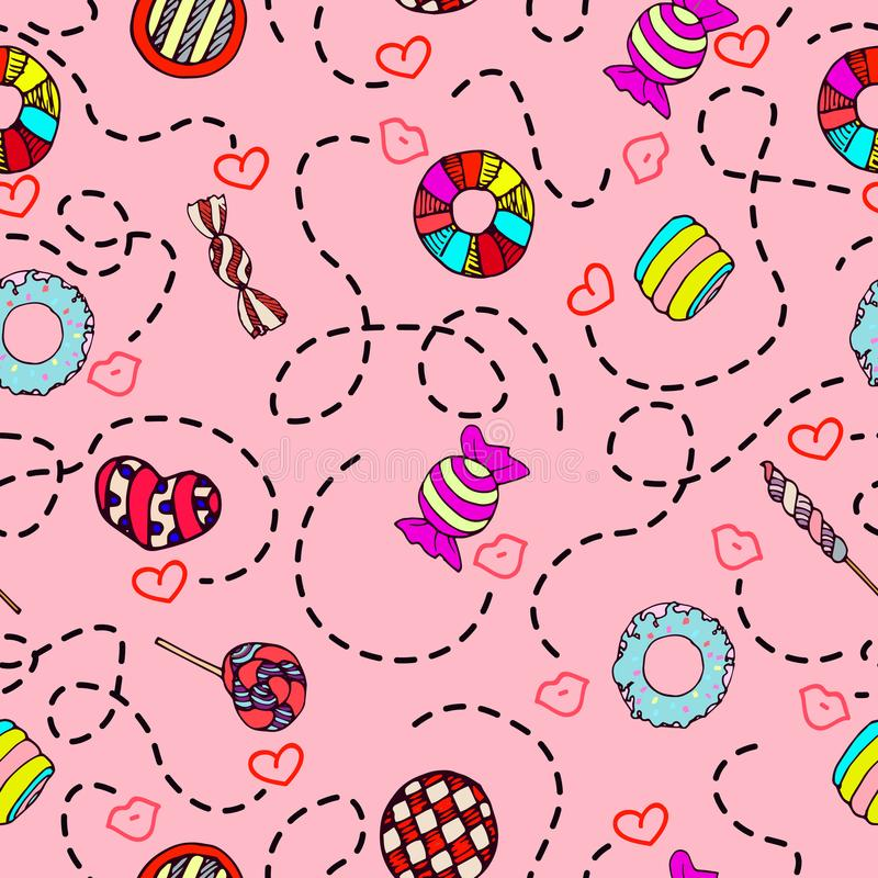 Colorful and cute hand drawn sweet candy vintage style seamless pattern vector vector illustration