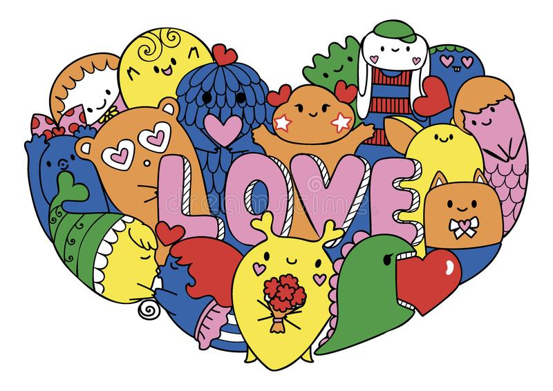 Colorful cute monsters form in hearted shape with the letters LOVE for printed tee, cards,invitations . Vector illustrations. vector illustration