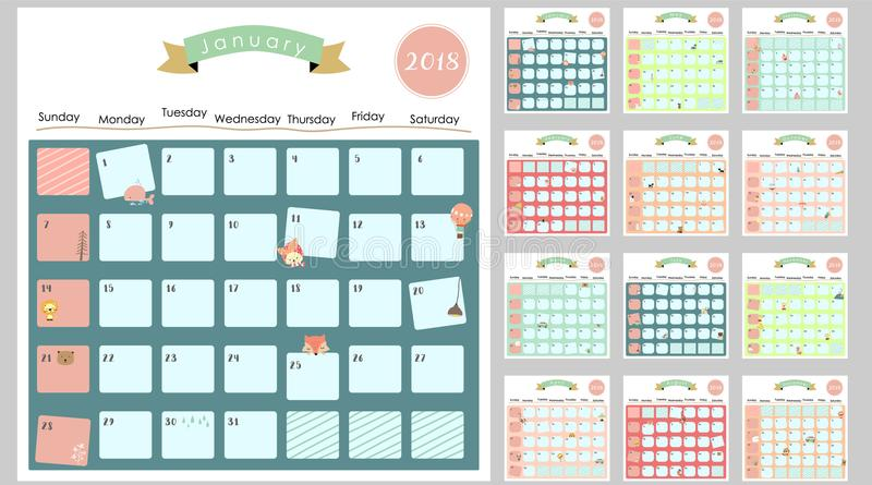 Colorful cute monthly calendar 2018 with squirrel,duck,reindeer,hippopotamus,giraffe,cat,lion and bear.Can be used for. Web,banner,poster,label and printable vector illustration