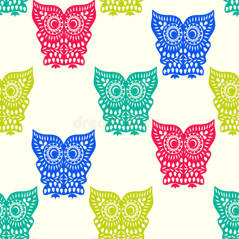 Colorful Cute Owl pattern seamless royalty free illustration