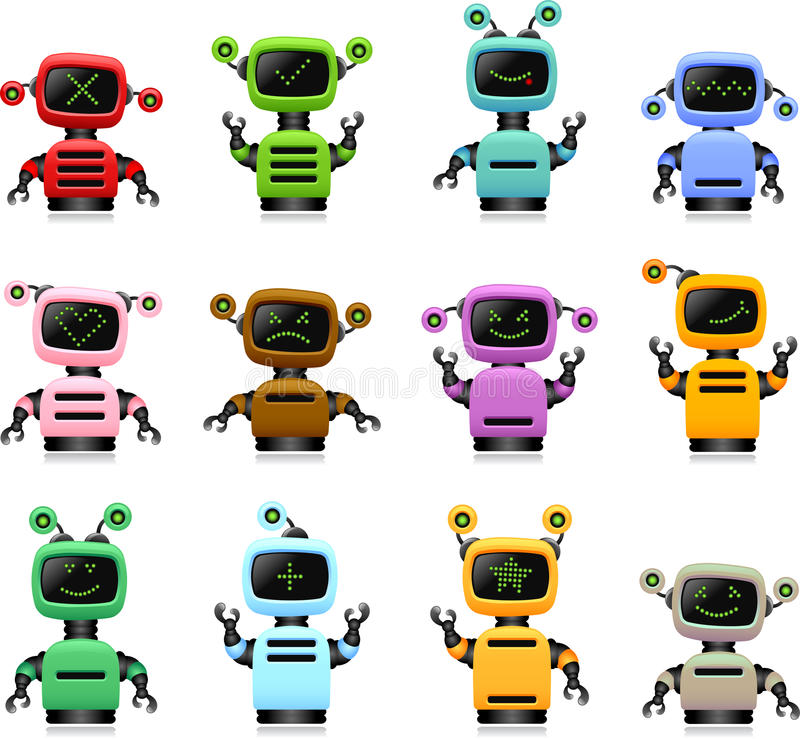 Colorful cute robots set royalty free illustration