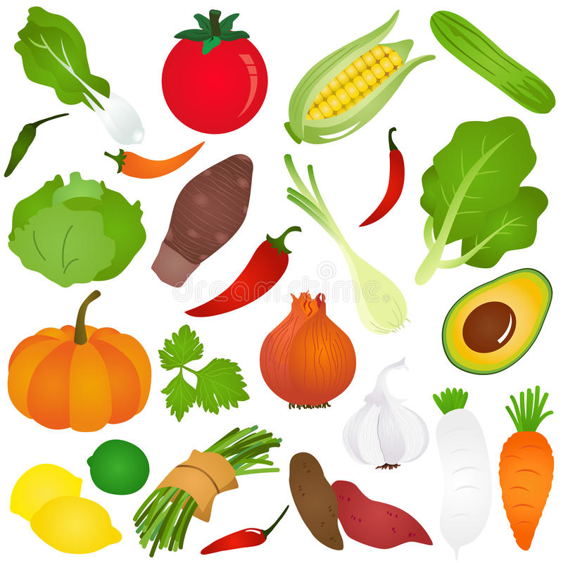 Colorful Cute vector Icons : Fruits, vegetable, f vector illustration